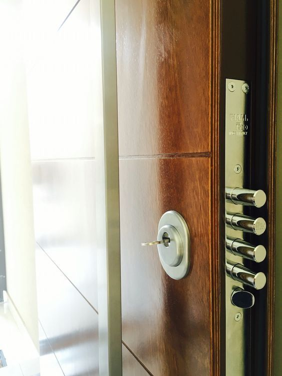 Steel Security Door With Wood Finishes Security Door Steel Security Doors Door Lock Security