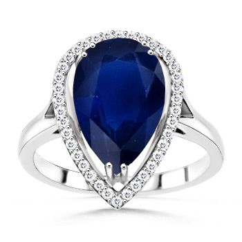Pear Sapphire and Round Diamond Ring