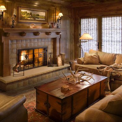 Hunting lodge design nice tile fireplace works with for Lodge style fireplace ideas