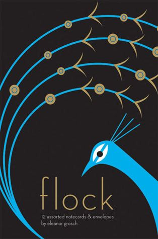 """Flock"" notecards featuring graphic illustrations of birds by Eleanor Grosch (Chronicle Books, © 2008)."