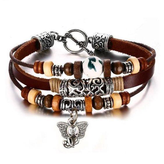 Elephant Bohemian Leather Bracelet