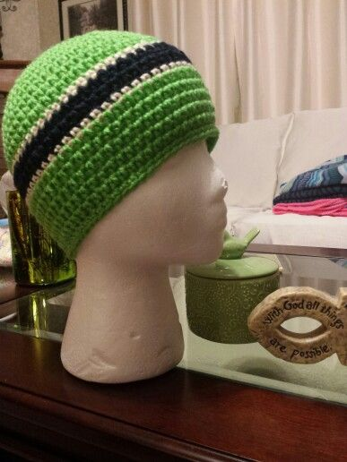 Navy and green chemo beanie