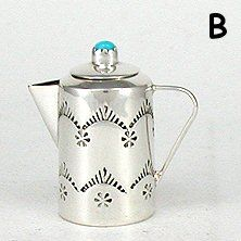 Authentic Native American Sterling Silver and Turquioise Miniature Coffee Pot by Navajo Wesley Whitman