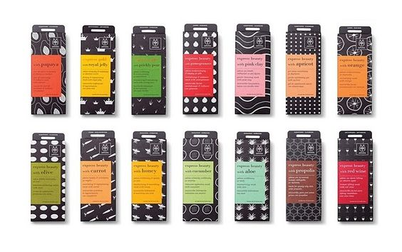 Embalagem diferentes cores e texturas