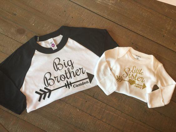 Big Brother Little Sister Shirt Set - 3/4 Sleeve Raglan and Long Sleeve Body…