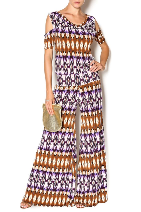 Sandra tribal printed palazzo jumpsuit with cold shoulder detail. Style with cognac mules for a hippie-esque outfit.   Sandra Jumpsuit by Julian Chang. Clothing - Jumpsuits & Rompers - Jumpsuits Naples, Florida