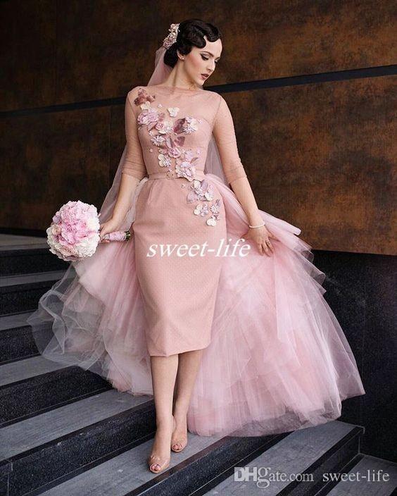 Vintage Blush Pink Knee Length Short Sheath Bridal Dress Formal Party Wear Tulle 3d Flowers 2020 Wedding Dresses With Overskirt Chiffon Wedding Gowns Deep V Wed Short Bridal Gown Pink Wedding