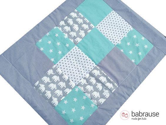 Babydecken - Babydecke Patchworkdecke Kinderwagendecke Mint - ein Designerstück…