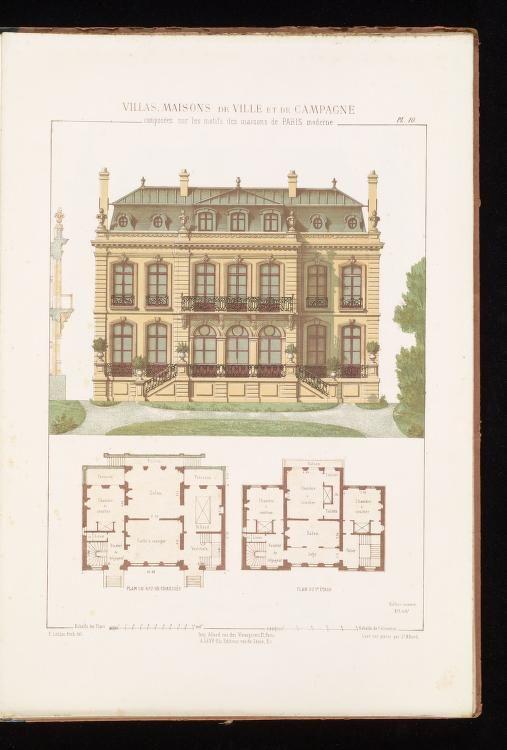Villas Maisons De Ville Et De Campagne Composees Sur Les Motifs Des Habitations De Paris Mo French House Plans Architecture Blueprints Classic House Design