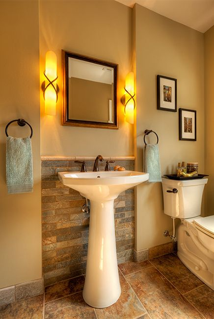 Small Bathroom Secrets: How to Pick the Right Vanity. Like the brick behind sink. Use Decorative trim to create the indent around sink.