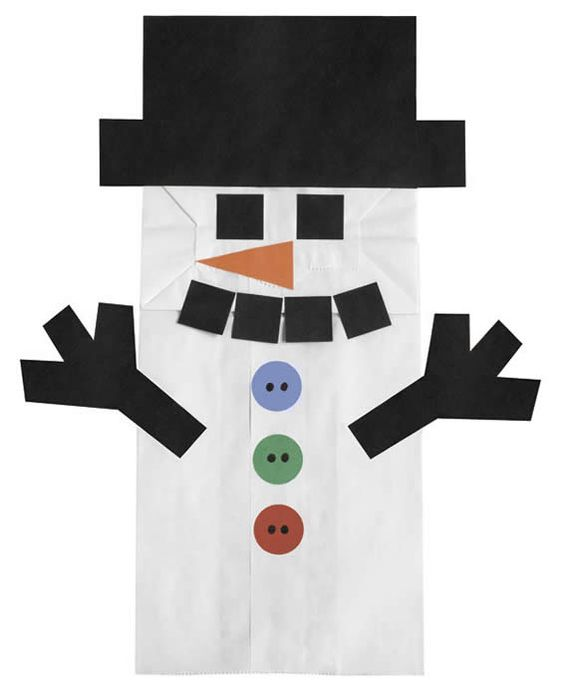 "Paper Bag Snowman for poem.  ""I made myself a snowman-  Just as perfect as can be-  I thought I'd keep it as a pet-  And let it sleep with me-  I gave it some pajamas-  And a pillow for its head-  Then last night it ran away-  But first it wet the bed"""