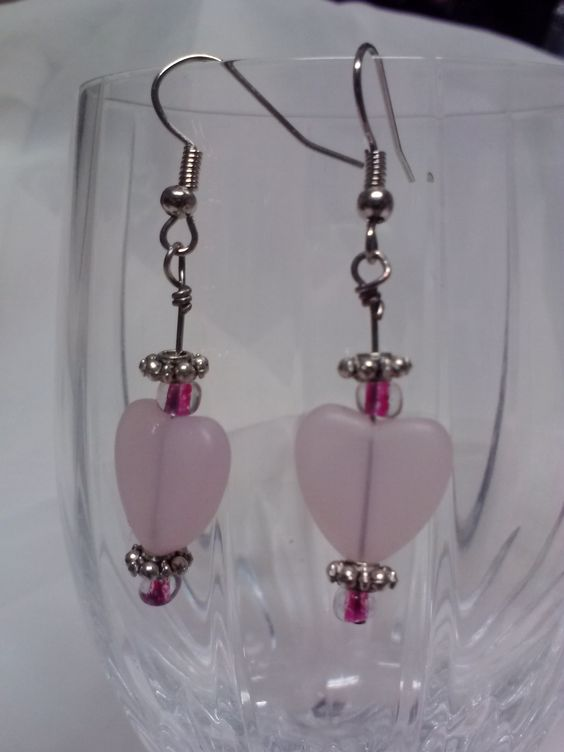 Pink Heart Glass Earrings ~ Made by me here at Gator Jewels & Accessories