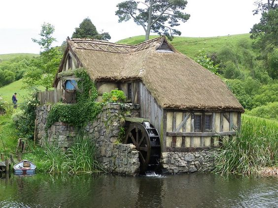 This is the works, Cottage country stone thatch render, tudor wood and water wheel on a river bank x
