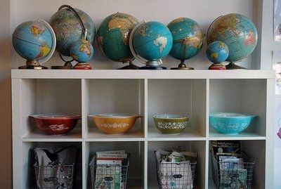 Two of my favourite things, globes and pyrex