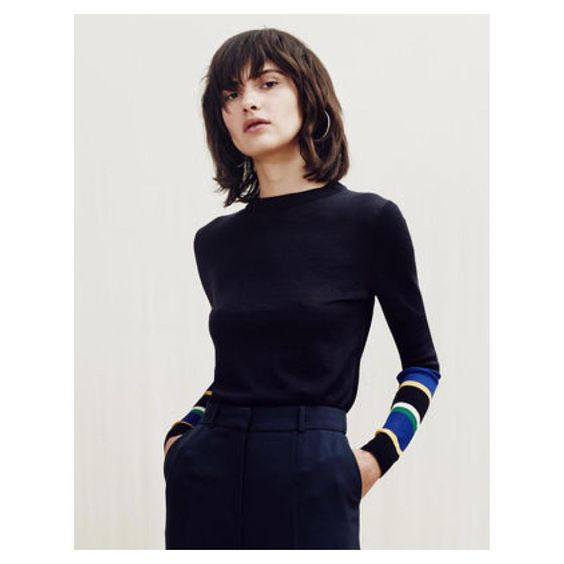 The only knit you need - the Harrison stripe cuff jumper £95 available online now and in-stores soon #whistles #slickknits