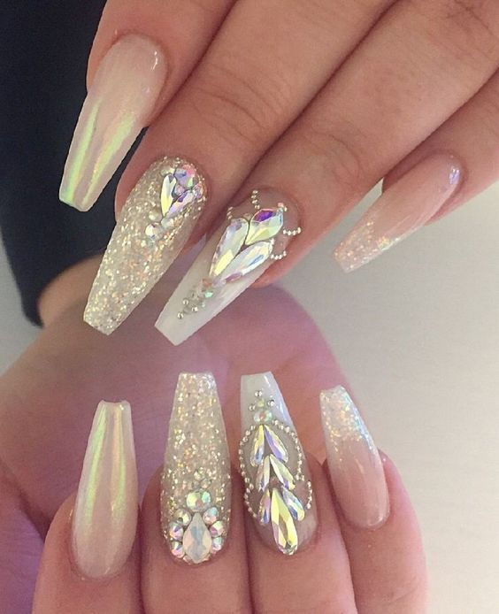 The Creative Acrylic Coffin Nails Are So Perfect For Winter Holidays 2018 Hope They Can Inspire You A Nails Design With Rhinestones Gem Nail Designs Gem Nails