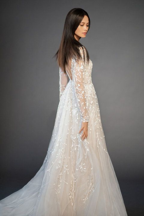 Style 3859 Isabel Lazaro Bridal Gown Champagne Crystal Embroidered Floral A Line Bri Wedding Dresses Kleinfeld Lazaro Wedding Dress Wedding Dress Long Sleeve