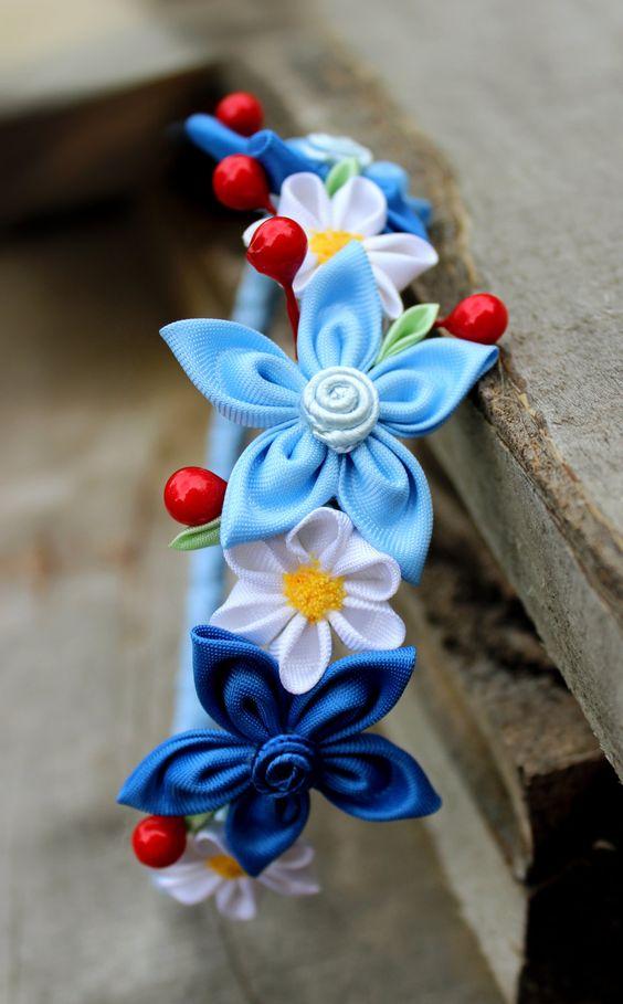 Luz azul diadema bebé niña casco Kanzashi pelo por Golubchak