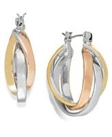 Charter Club TriTone Intertwine Hoop Earrings