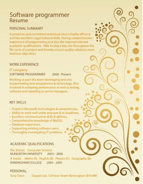 Resume Design Template $4000, via Etsy Senior Projects - software programmer sample resume