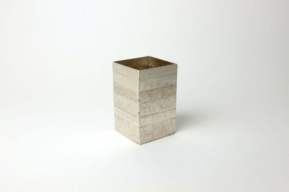 """Box"" by Cóilín Ó Dubhghaill, 2013. Silver alloy, copper alloy (hammerwork)."