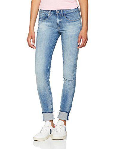 G Star Raw Damen Skinny Jeans 3301 Deconst Mid Wmn Blau Beach Medium Aged W30 L34 Herstellergrosse 30 34 G Star Raw Jeans Damen