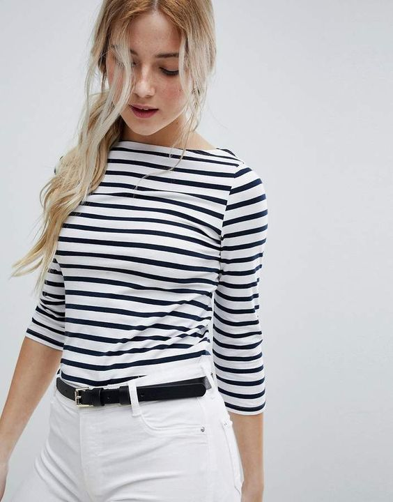 New Look Fitted Breton Stripe Top $13 Top by New Look, Slash neck, Striped design, Another staple to line your wardrobe, Cropped sleeves, Slim fit, A narrow cut that sits close to the body, Part of the Eco Edit, Cos caring for the planet is cool. Transforming the coolest looks straight from the runway into wardrobe staples, New Look joins the ASOS round up of great British high street brands.