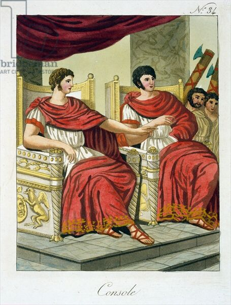 Two Roman consuls reclining in their chairs