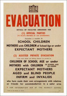 Postcard - Evacuation Poster - World War II - British - Mothers Children Adverts: