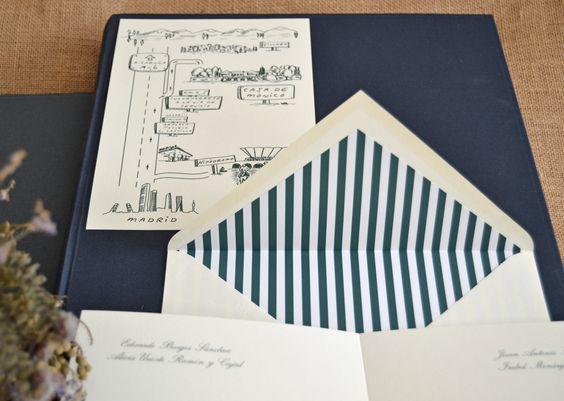 Invitaciones de boda con sobres forrados de rayas by Silvia Galí. www.silviagali.com