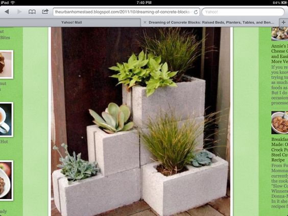 Mini cement block planter
