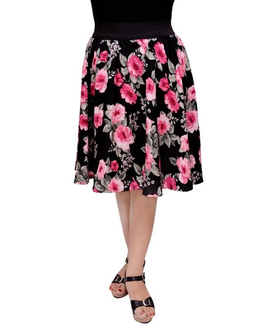 Here is something crazyy.. Gracediva Polyester Pink Rose On #BlackBaseSkirt check https://www.eclipseexpress.com/ for more..