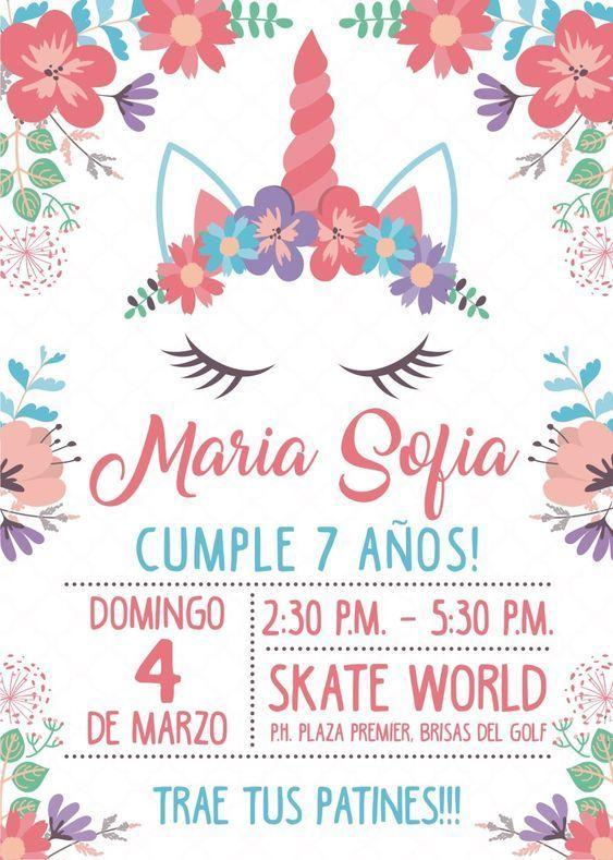 Tarjeta De Cumpleaños Unicornio Y Flores Invitaciones