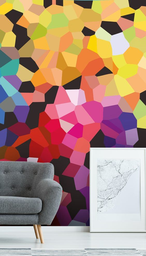 Colourful Abstract Wall Mural By Wallsauce Mural Wallpaper Mural Wall Murals