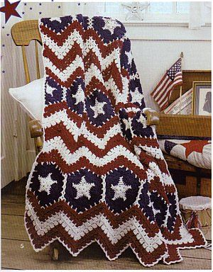 Crochet American Flag Scarf Pattern : American Pride Afghans - Crochet Patterns For the Home ...