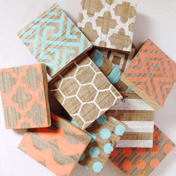 Modern Patterned Hand Painted Wood Coasters By