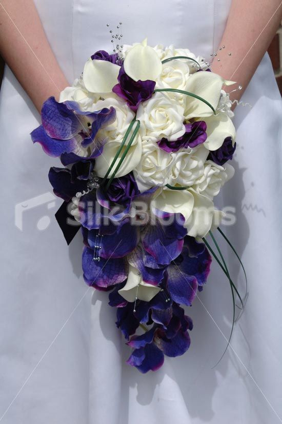 Brides purple ivory orchid calla lily cascading shower