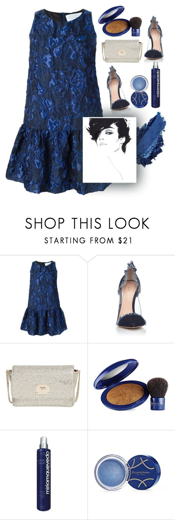 """Dresses"" by grinevagh ❤ liked on Polyvore featuring Gianluca Capannolo, Gianvito Rossi, Jimmy Choo, Elizabeth Arden and Miriam Quevedo"