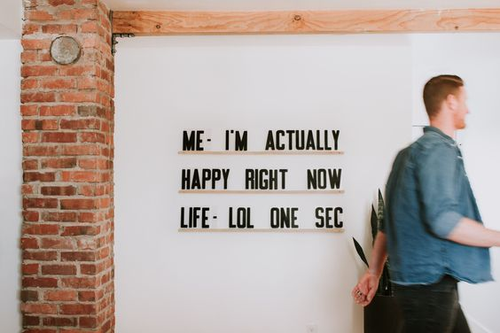 Me - I'm actually happy right now. Life - LOL one sec. . Funny quote on Letters and Ledges by Refined Design. Modern interior design with modern minimal wall decor. Word art available in our shop at ShopRefinedDesign.com.
