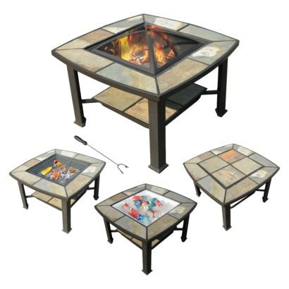 leisurelife rimini 4 in 1 slate coffee table cooler fire pit grill fire pits slate. Black Bedroom Furniture Sets. Home Design Ideas