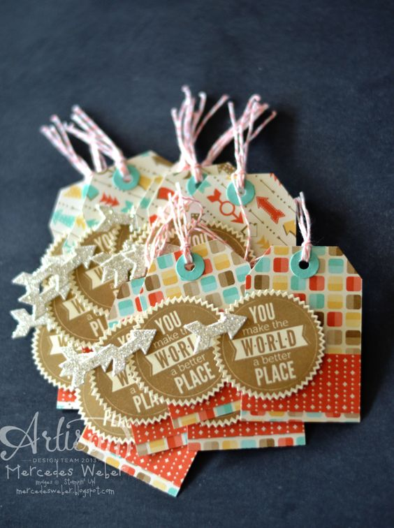 Cute tags made with the Tag Topper Punch.