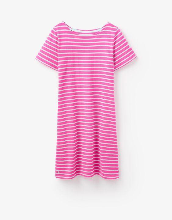 Riviera Neon Candy Aqua Stripe Jersey T-Shirt Dress | Joules UK
