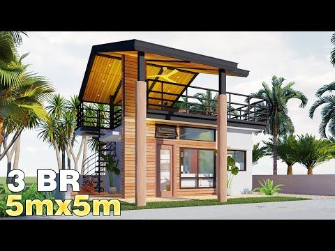 Bungalow House With Roof Deck House Design 5x5m 50 Sqm W 3 Bedrooms 2020 Youtube House Deck Backyard House House Blueprints