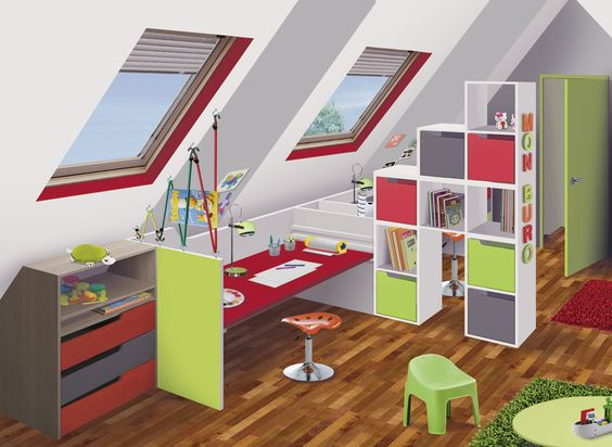 Bureau sous combles id es am nagement combles for Idee amenagement chambre enfant