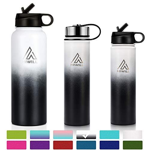 Hiwill Stainless Steel Insulated Water Bottle 2 Lids Cold 24 Hours Hot 12 Hours Double Wall Vacuum Insulated Stainless Steel Water Bottle Water Bottle Bottle