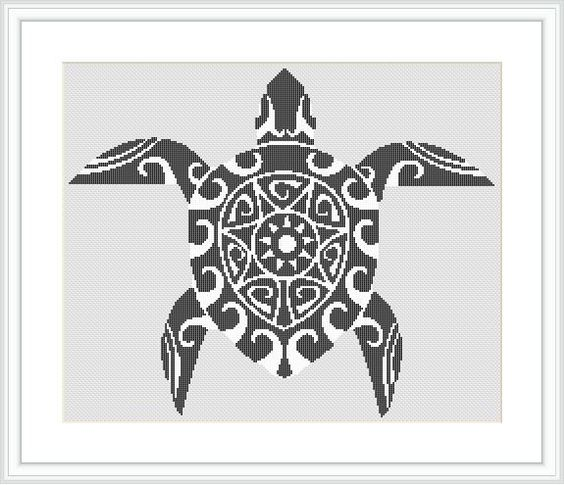 Turtle in abstract cross stitch pattern. Black and white. Modern. Beautiful. by Crossstitchinn on Etsy