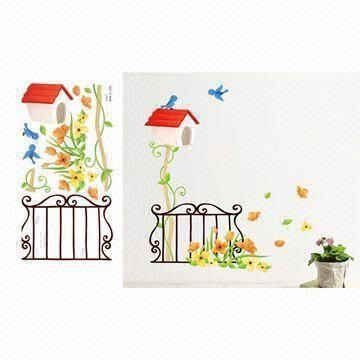 Vinyl Decorated Reusable PVC Wall Sticker With UV And Nontoxic - Custom reusable vinyl wall decals   how to remove