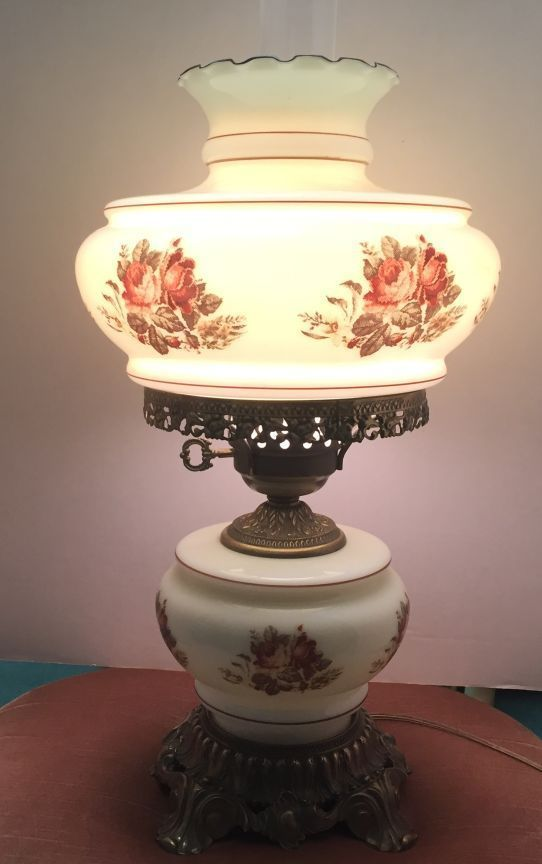 Vintage 19 Hurricane Lamp Floral Milk Glass Gone With The Wind Hurricane Lamps Lamp Victorian Lamps