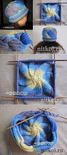 Шапка спицами с переплетами » Ниткой - вязаные вещи для вашего дома, вязание крючком, вязание спицами, схемы вязания: