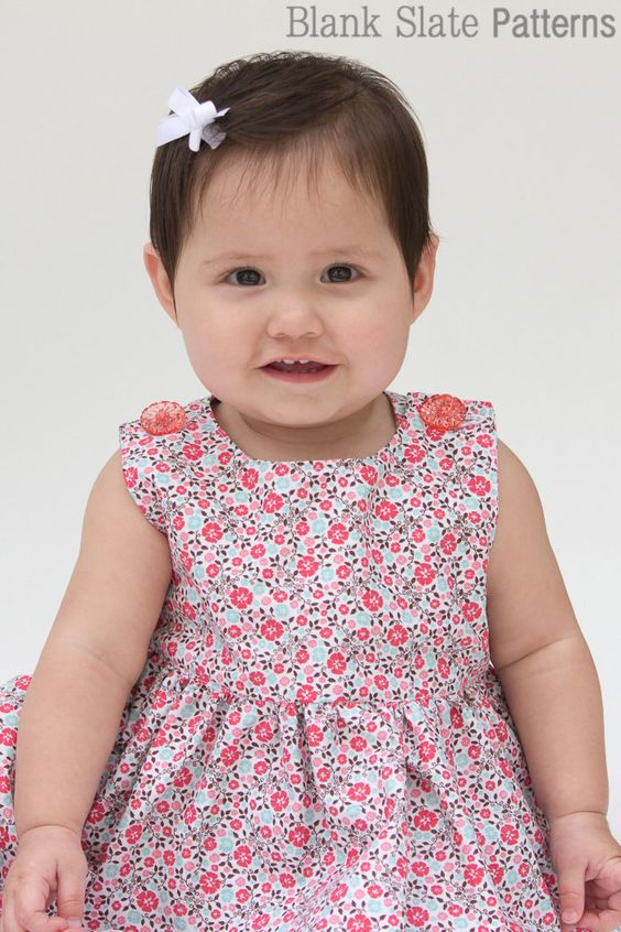 Super cute button shoulders - Sew a Baby Dress with a Free Pattern  (0-3 mon only is free) - Melly Sews